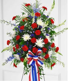 A beautiful design of red, white, and blue flowers for a patriot.