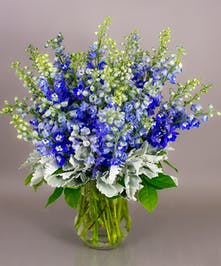 A striking display of beautiful blue delphinium gathered in our exclusive Tokyo vase, the Azule arrangement makes quite a statement.