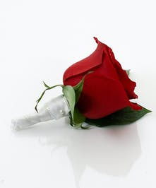 Red Rose Boutonniere with White Wrap - Same Day Delivery, Danvers MA