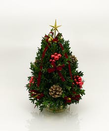 We've taken the finest premium boxwood tips from Virginia and designed a beautiful boxwood tree, then trimmed it with beautiful ribbons, cones and ball clusters.