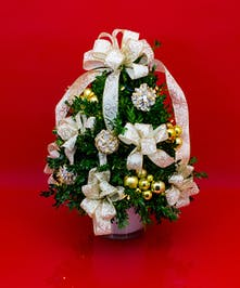 We've taken the finest premium boxwood tips from Virginia and designed a beautiful boxwood tree, then trimmed it with lights and beautiful ribbons, cones and ball clusters.