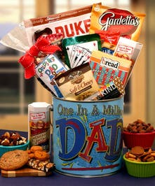 You're One In A Million Dad Premium Snacks & Nuts Gift Pail - Same Day Delivery, Danvers, MA