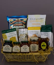 Each basket is made with care from a seasonal selection of our gourmet offerings.