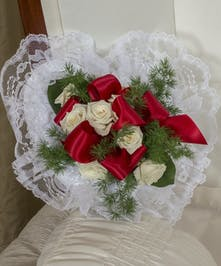 Red and White Satin Piece