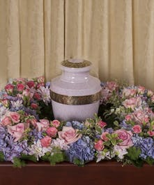 Soft Colored Square Urn Wreath
