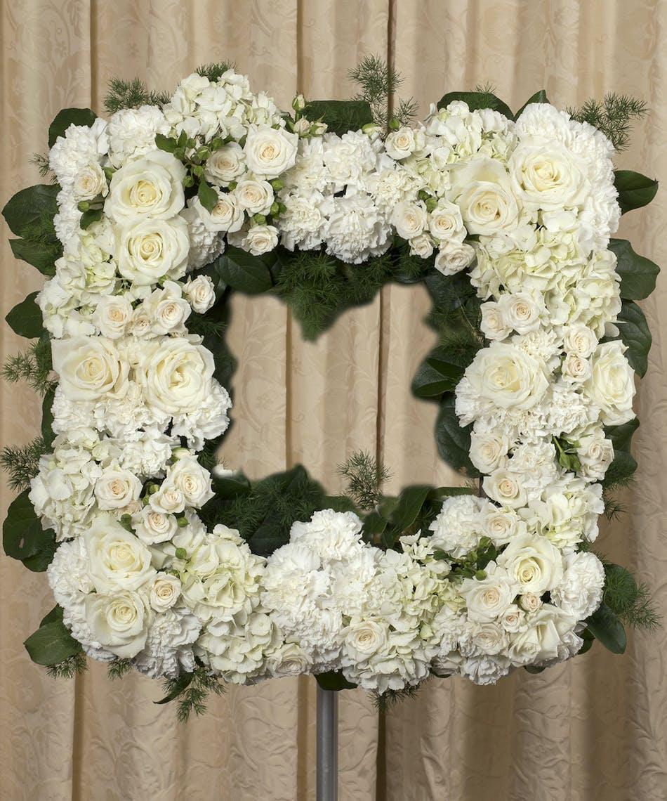 Elegant white square wreath same day delivery danvers ma curran elegant white square wreath danvers ma izmirmasajfo Images