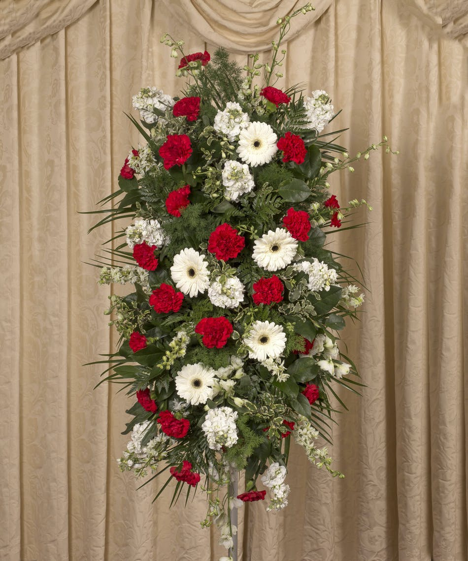 Red White Standing Sympathy Spray Currans Flowers