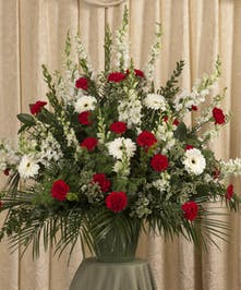 Red & White Funeral Basket