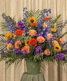 Vibrant Funeral Basket Danvers (MA) Currans Flowers