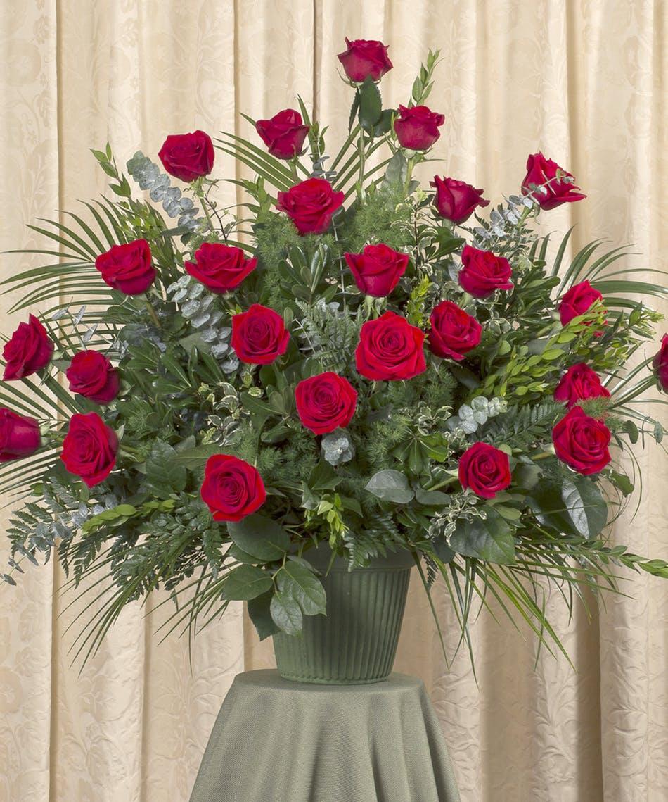 Red Rose Funeral Basket - Same-day Flower Delivery Danvers (MA ...