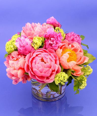 Perfect Peony arrangement in a glass vase