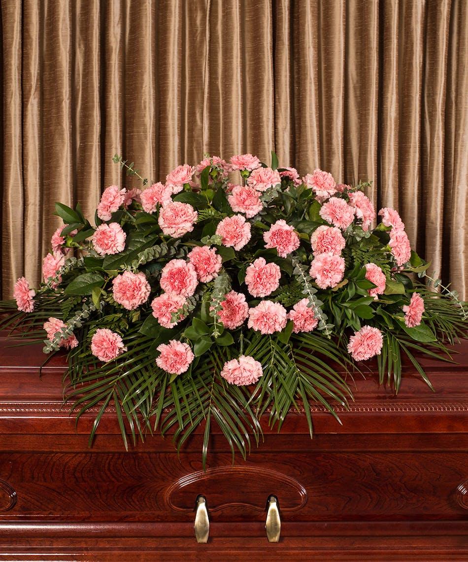 Pink Carnation Casket Spray Same Day Delivery Danvers Ma Currans