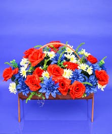 Patriotic Cemetery Basket - Artificial Patriotic - Same Day Delivery, Danvers, MA