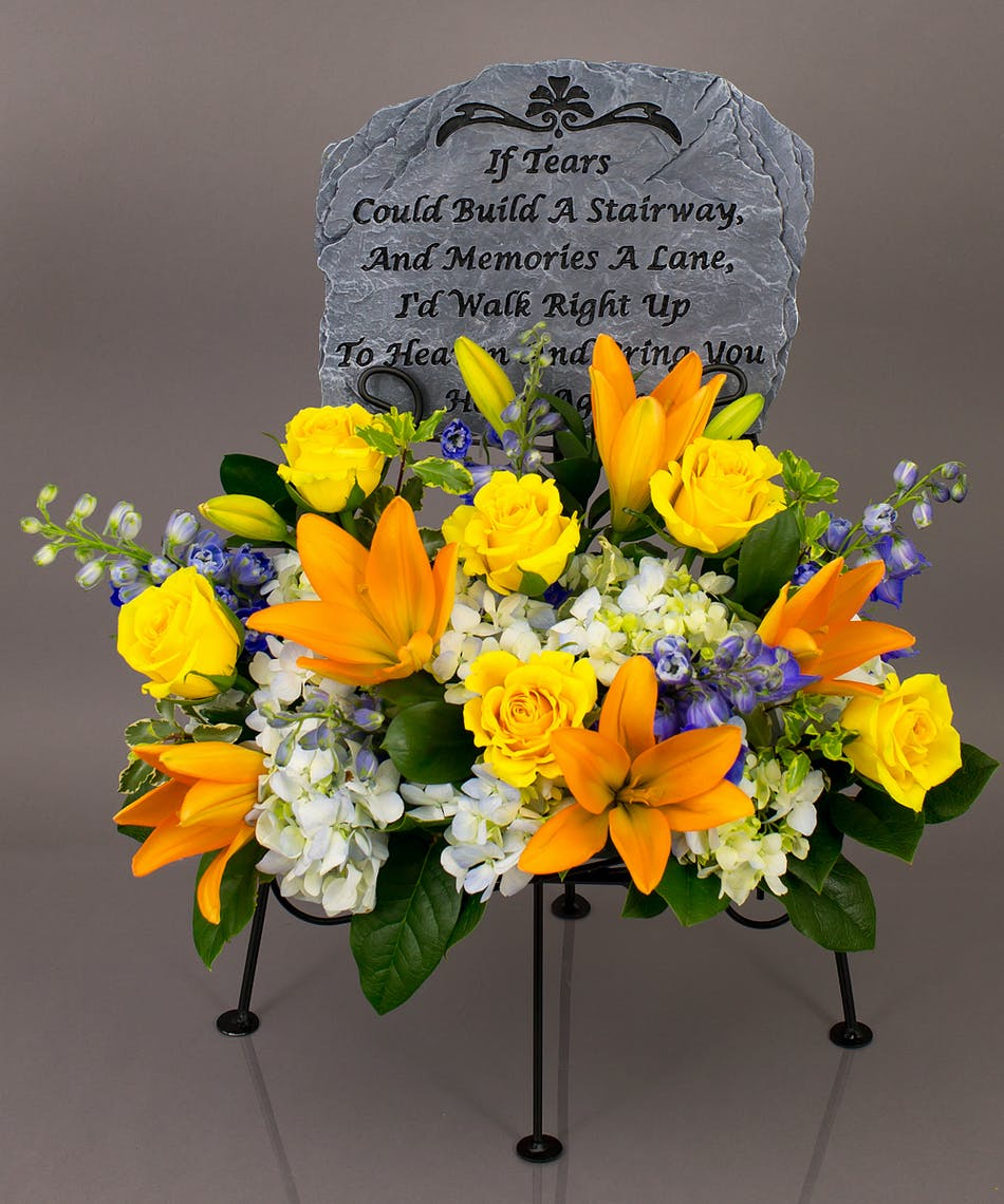 Stairway of tears memorial display currans flower same day we will create a beautiful floral floral arrangement to celebrate a loved one and display your delivery izmirmasajfo