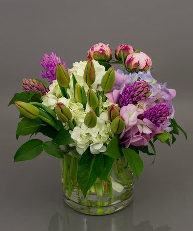 We selected the perfect combination of our own Currans grown tulips, fragrant hyacinth, delicate peonies, and always popular hydrangea to compose this piece.