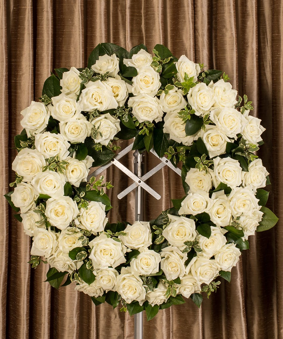 White Rose Wreath Same Day Delivery Danvers Ma Currans Flowers