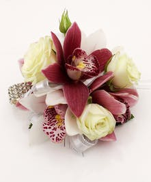 Mini Cymbidium and Rose Wristlet - Same Day Delivery Danvers, MA