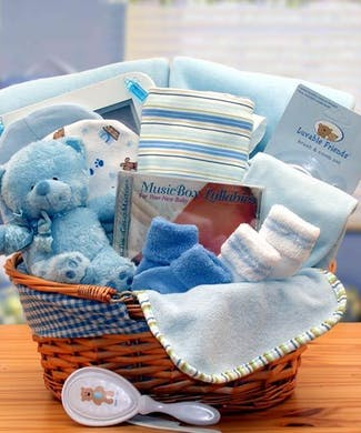 Simply The Baby Basics New Baby Gift Basket -Blue