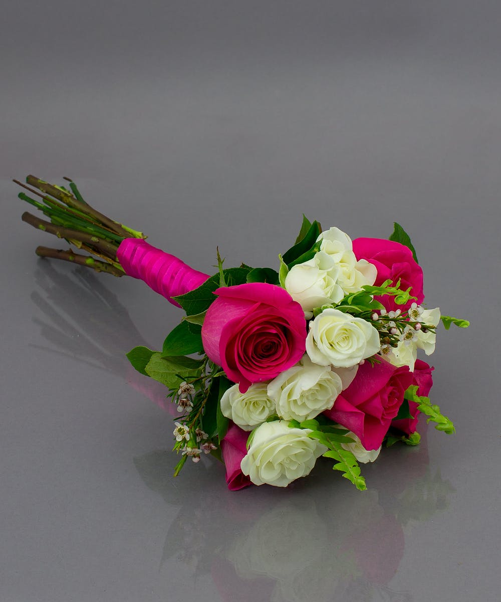 Hot Pink and White Prom Bouquet - Currans Flowers ...