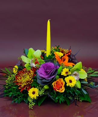 Single Candle Thanksgiving Centerpiece
